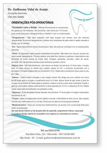 Orientações Pós-Operatórias ORTODONTIA - Ref. 3366