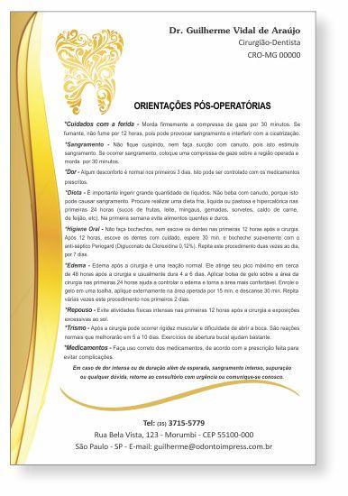 Orientações Pós-Operatórias - Ref. 0584  - Odonto Impress