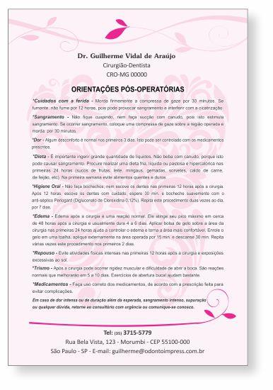 Orientações Pós-Operatórias - Ref. 0585