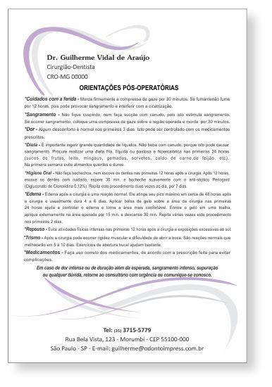 Orientações Pós-Operatórias - Ref. 0586
