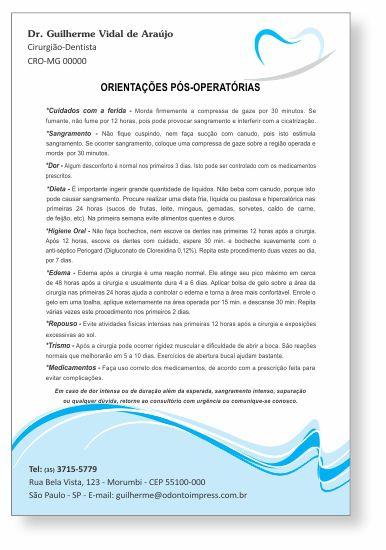 Orientações Pós-Operatórias - Ref. 0587