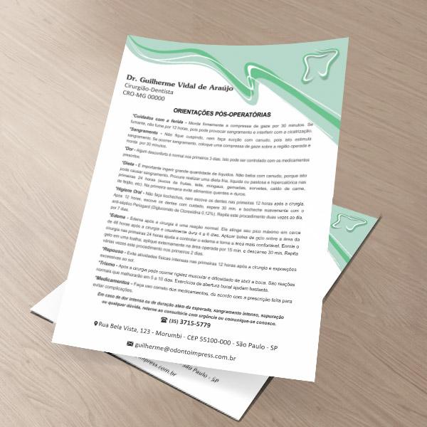 Orientações Pós-Operatórias - Ref. 0589  - Odonto Impress