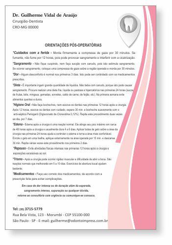 Orientações Pós-Operatórias - Ref. 0590  - Odonto Impress