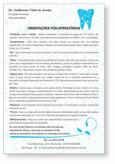 Orientações Pós-Operatórias - Ref. 0591