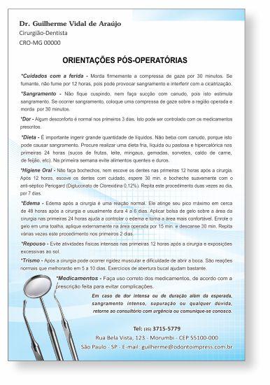 Orientações Pós-Operatórias - Ref. 0593