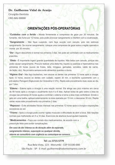 Orientações Pós-Operatórias - Ref. 0594  - Odonto Impress