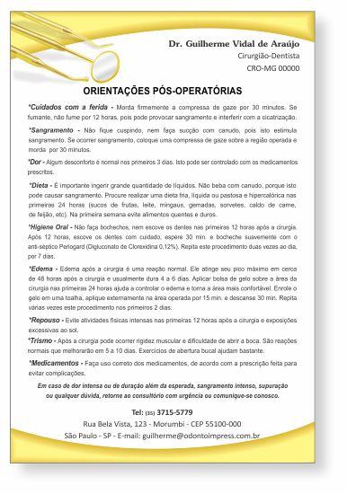 Orientações Pós-Operatórias - Ref. 0595