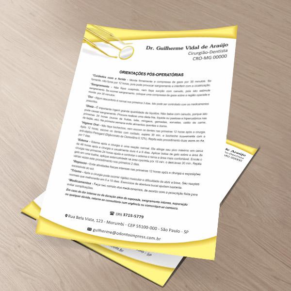 Orientações Pós-Operatórias - Ref. 0595  - Odonto Impress