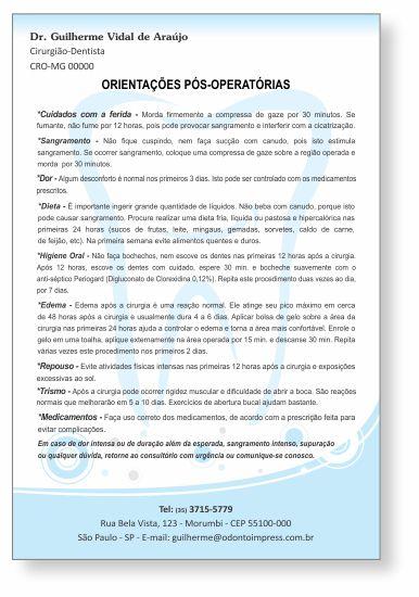 Orientações Pós-Operatórias - Ref. 0596