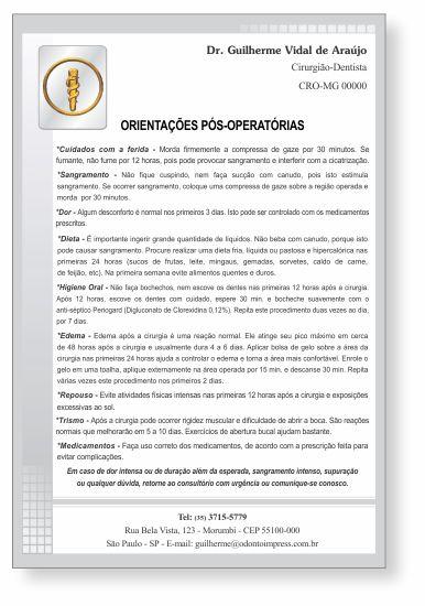 Orientações Pós-Operatórias - Ref. 3300