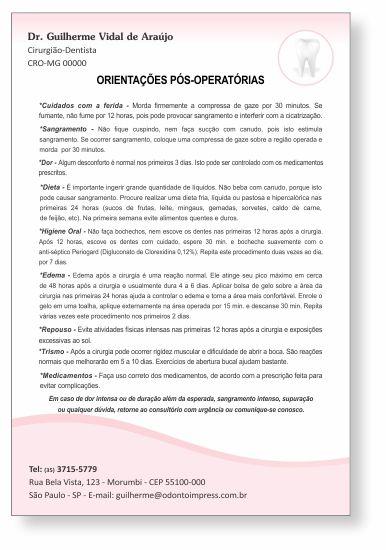 Orientações Pós-Operatórias - Ref. 3307