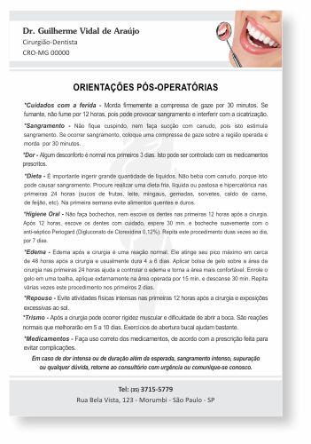 Orientações Pós-Operatórias - Ref. 3309  - Odonto Impress