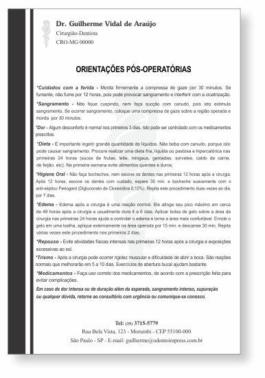 Orientações Pós-Operatórias - Ref. 3311