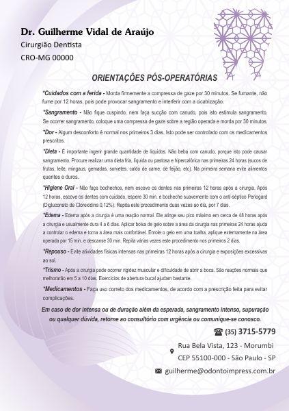 ORIENTAÇÕES PÓS-OPERATÓRIAS - REF. 3312  - Odonto Impress