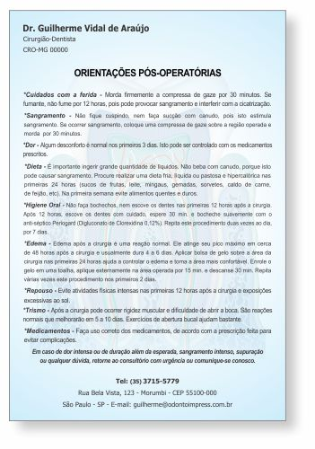 Orientações Pós-Operatórias - Ref. 3351