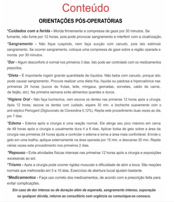 ORIENTAÇÕES PÓS-OPERATÓRIAS - REF. 3370  - Odonto Impress
