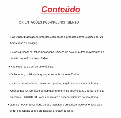 ORIENTAÇÕES PÓS-PREENCHIMENTO HOF - REF. 0582  - Odonto Impress