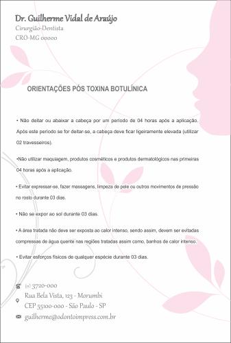 Orientações Pós-Toxina Botulínica HOF - Ref. 0377