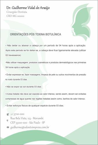 ORIENTAÇÕES PÓS-TOXINA BOTULÍNICA HOF - REF. 0378