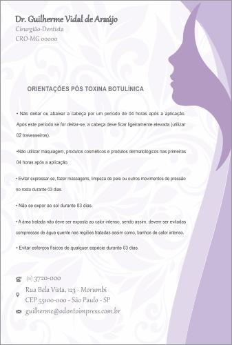 ORIENTAÇÕES PÓS-TOXINA BOTULÍNICA HOF - REF. 0381