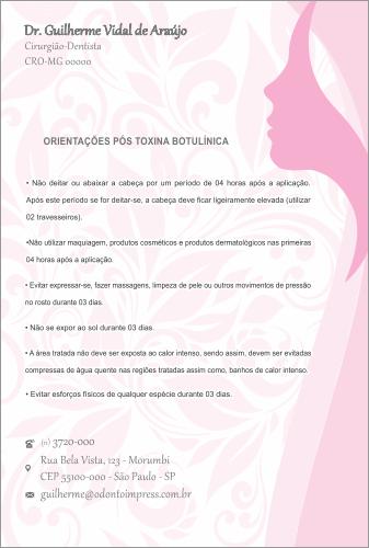 ORIENTAÇÕES PÓS-TOXINA BOTULÍNICA HOF - REF. 0382