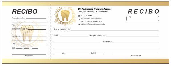 RECIBO COM CANHOTO - REF. 2716  - Odonto Impress