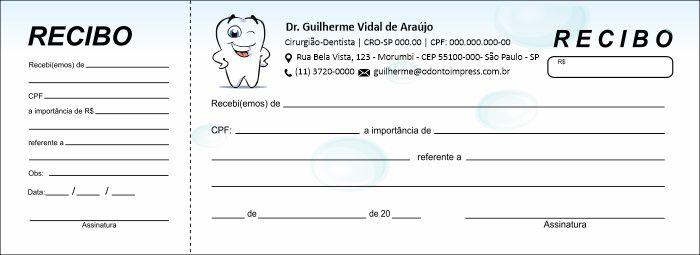 RECIBO COM CANHOTO - REF. 2731  - Odonto Impress