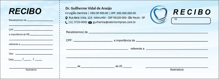 RECIBO COM CANHOTO - REF. 2756  - Odonto Impress