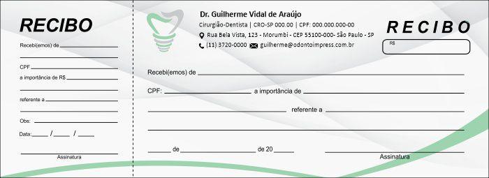 RECIBO COM CANHOTO - REF. 2757  - Odonto Impress