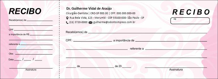 RECIBO COM CANHOTO - REF. 2782  - Odonto Impress