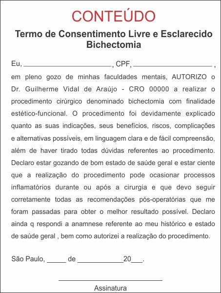 TERMO DE CONSENTIMENTO DE BICHECTOMIA - HOF - 0182  - Odonto Impress