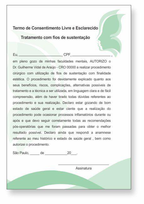 TERMO DE CONSENTIMENTO DE FIOS DE SUSTENTAÇÃO - HOF - 0078  - Odonto Impress