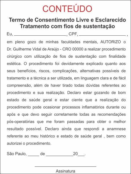 TERMO DE CONSENTIMENTO DE FIOS DE SUSTENTAÇÃO - HOF - 0079  - Odonto Impress