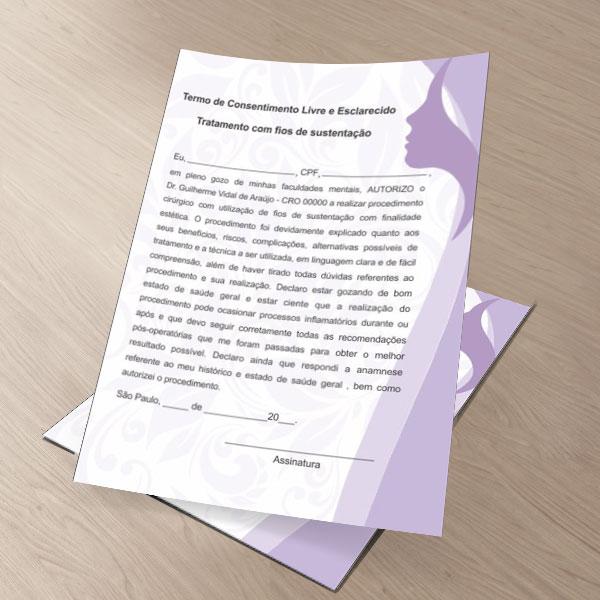TERMO DE CONSENTIMENTO DE FIOS DE SUSTENTAÇÃO - HOF - 0081  - Odonto Impress