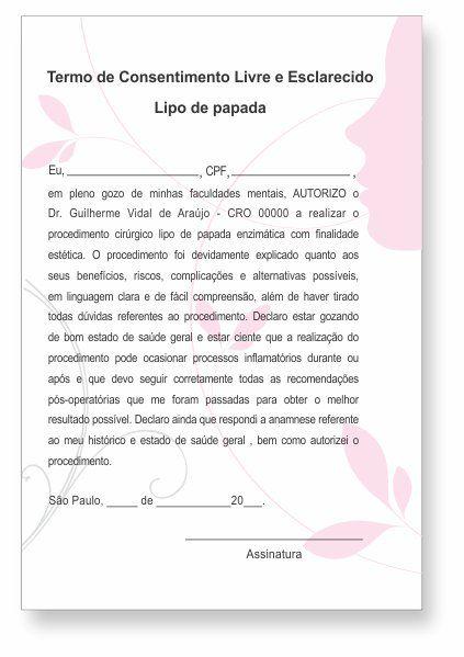 Termo de Consentimento de Lipo de Papada - HOF - 0277