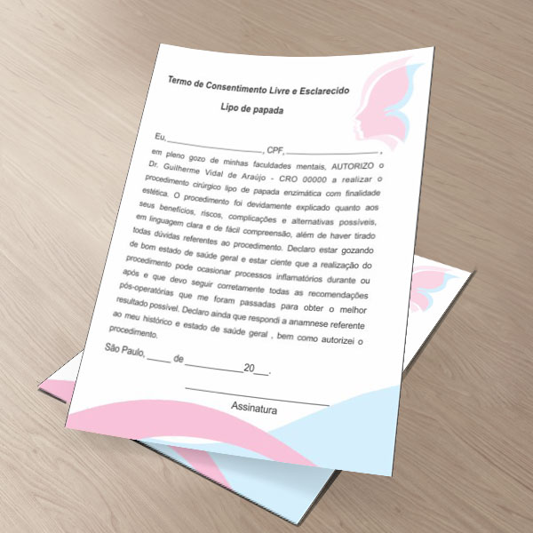 TERMO DE CONSENTIMENTO DE LIPO DE PAPADA - HOF - 0279  - Odonto Impress