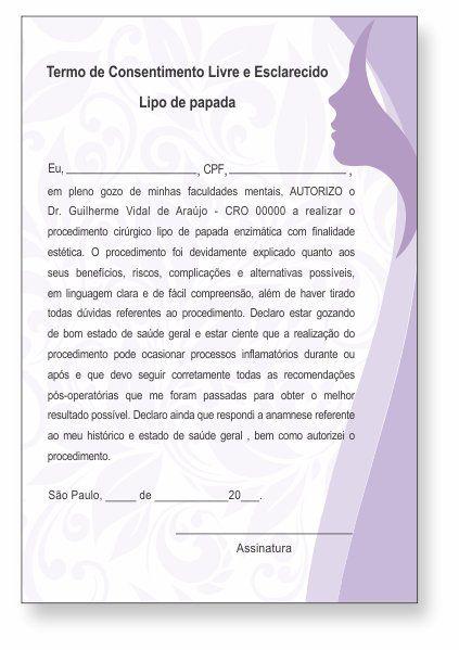 TERMO DE CONSENTIMENTO DE LIPO DE PAPADA - HOF - 0281  - Odonto Impress
