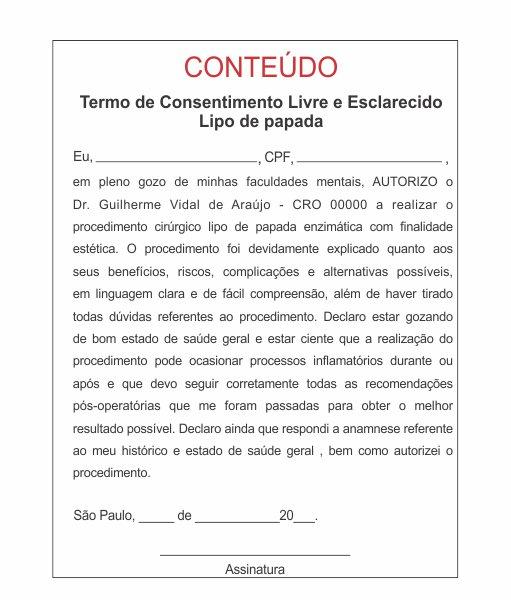 TERMO DE CONSENTIMENTO DE LIPO DE PAPADA - HOF - 0282  - Odonto Impress