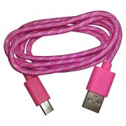 Cabo de Dados e Carregador Estilo Corda Micro USB 1 Metro - Rosa