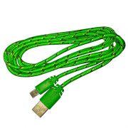 Cabo de Dados e Carregador Estilo Corda Micro USB 2 Metros - Verde