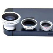 Kit Lente 3x1 Olho de Peixe Fisheye  Wide  Macro Iphone Galaxy Sony Lg Motorola Universal Prata