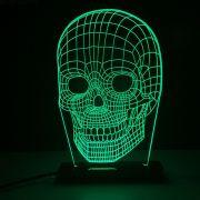 Luminária Decorativa 3D Iluminada com LED Verde - Caveira