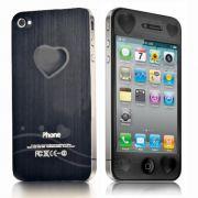 Pelicula Protetora Apple Iphone 4 4S com Relevo em 3D Frente e Verso - Coração Grande