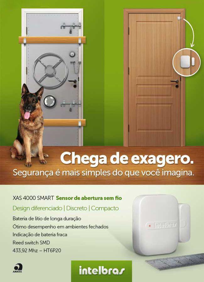 SENSOR MAGNÉTICO DE ABERTURA SEM FIO INTELBRAS XAS 4010 Smart + BATERIA Lítio - JS Soluções em Segurança