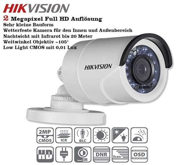 Câmera Bullet infra Flex 4 em 1 2.0 Megapixels 25mts DS-2CE16D0T-IRPF Full HD Hikvision 1080p - JS Soluções em Segurança