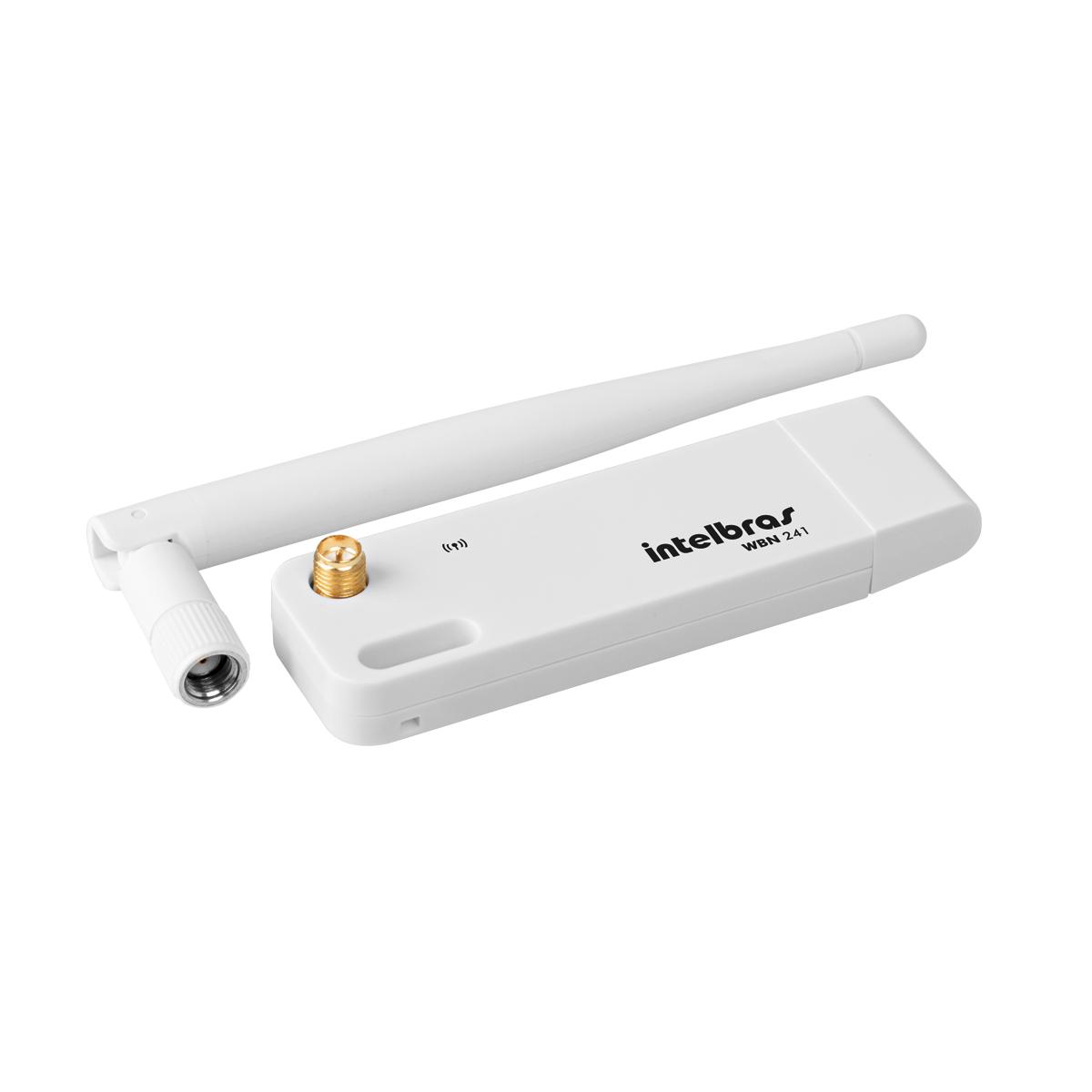 Adaptador USB wireless de alto ganho  N 150 Mbps Intelbras WBN 241 - JS Soluções em Segurança
