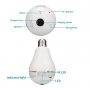 Câmera panorâmica fisheye lâmpada 360º WiFi IP 1.3 megas bivolt fotocelula Onvif 2.1 960p - JS Soluções em Segurança