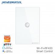Interruptor inteligente 1 Botão touch screen Wi-Fi branco RF 433.92 Mhz WS-US1-W Novadigital - JS Soluções em Segurança