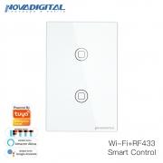 Interruptor inteligente 2 Botões touch screen Wi-Fi branco RF 433.92 Mhz WS-US2-W Novadigital - JS Soluções em Segurança