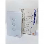 Interruptor inteligente 3 Botões touch screen Wi-Fi branco RF 433.92 Mhz WS-US3-W Novadigital - JS Soluções em Segurança